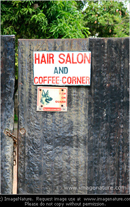 Sign for Hair salon and Coffee corner