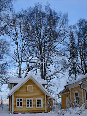 Traditional Russian house in winter