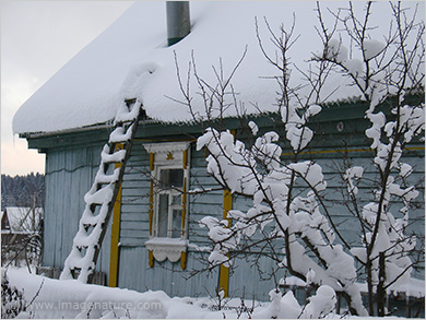 Traditional Russian wooden house under snow